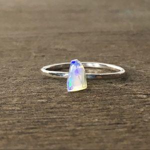 Delicate Welo Fire Opal Copper Skinny Ring